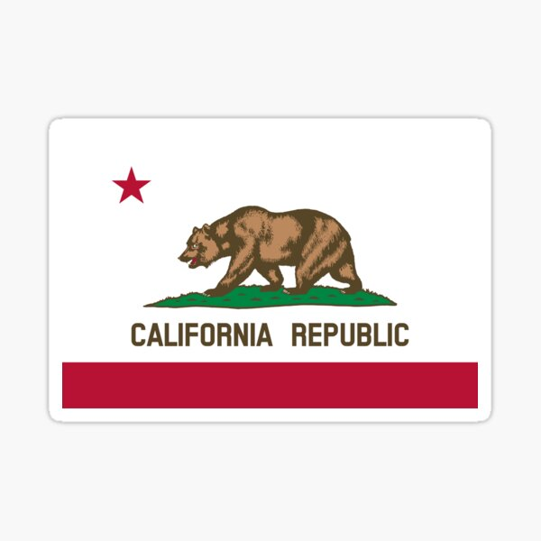 California CA Official State Flag Sticker