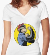 Chimp Power! Women's Fitted V-Neck T-Shirt