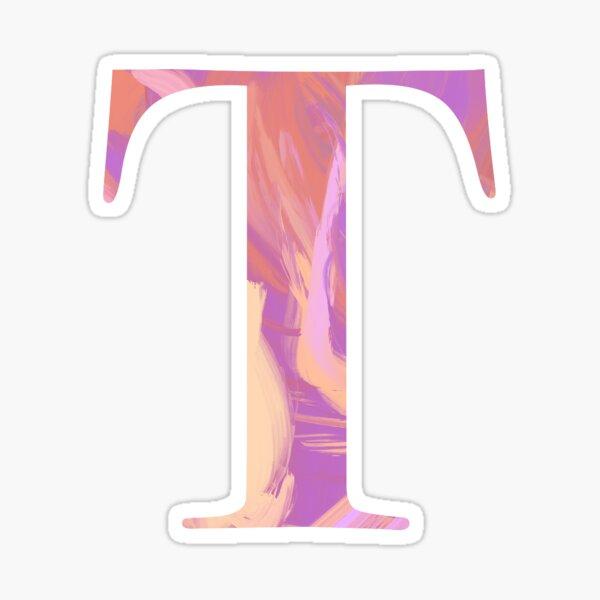 Letter T Monogram Sticker Blush and Purple Acrylic Paint Sticker