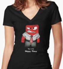 This is my happy face Women's Fitted V-Neck T-Shirt