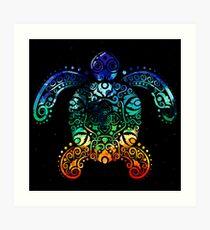 Inked Sea Turtle Art Print