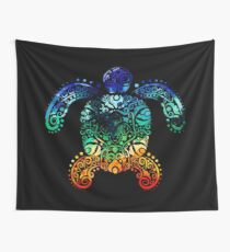 Inked Sea Turtle Wall Tapestry