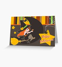 """""""Happy Halloween"""" Cute Redhaired Witch Greeting Card"""