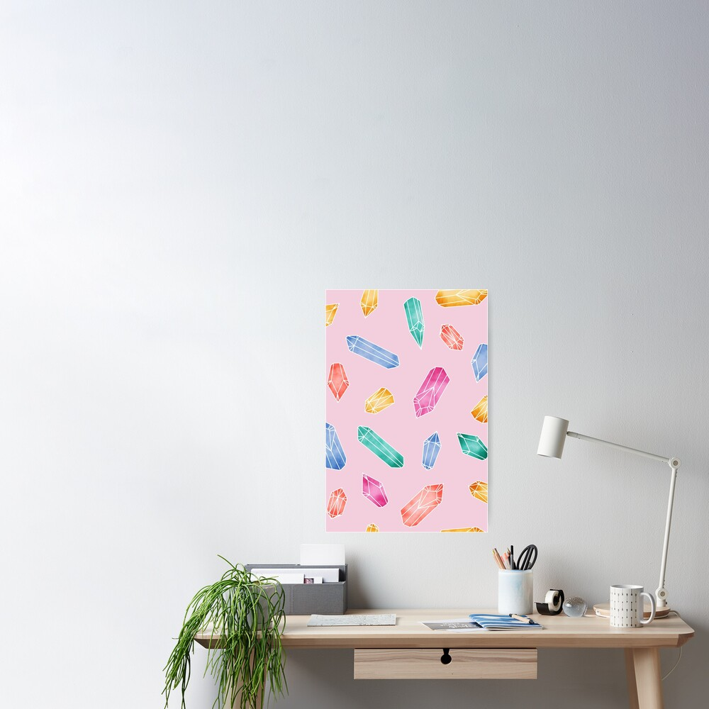 Crystals Pattern - Candy Pink Poster