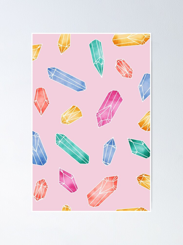Alternate view of Crystals Pattern - Candy Pink Poster