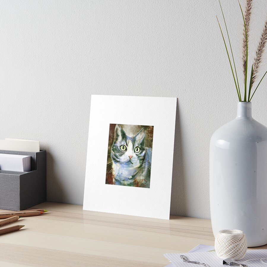 Snurp the Grey and White Cat Art Board Print