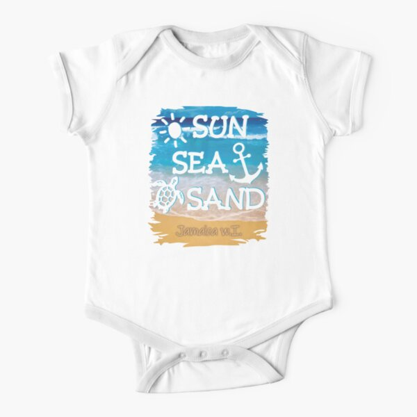 Sun Sea Wave Heart Love Casual Newborn Baby Short Sleeve Bodysuit Romper Infant Summer Clothing Black