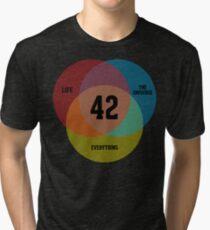Camiseta de tejido mixto Diagrama de Venn: la vida, el universo y todo