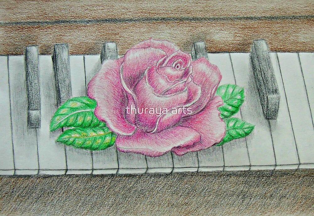 pink rose on piano by thuraya arts