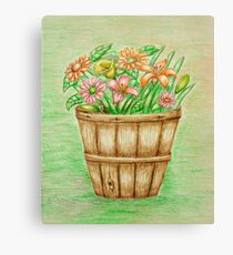basket flowers  Canvas Print