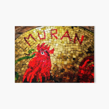 Red and Gold Mosaic Cockerel   Art Board Print