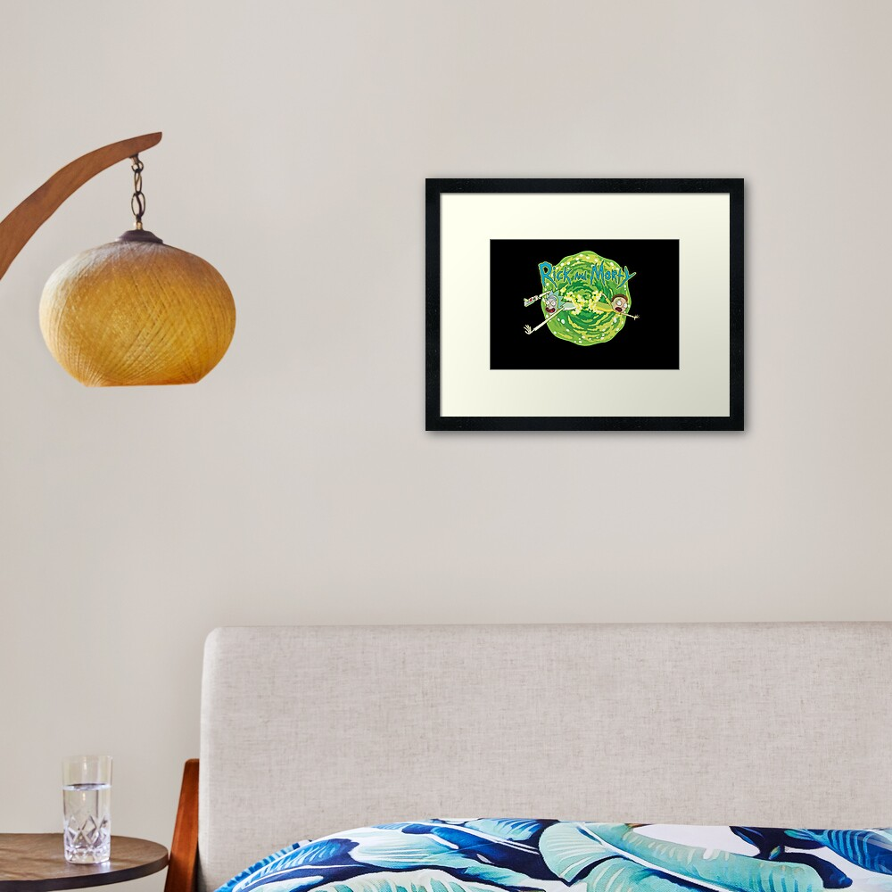 Rick and Morty black background  Framed Art Print