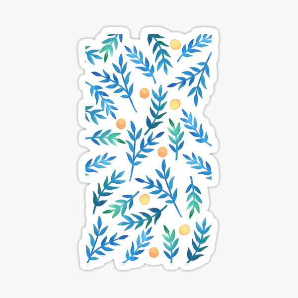 Blue Watercolor Branches & Berrries Sticker