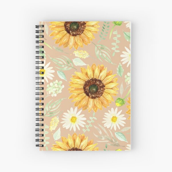 Sunflowers and Daisies | Watercolor | Art | Pattern | Beige Spiral Notebook