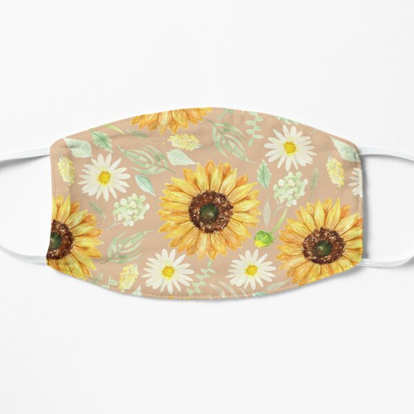 Sunflowers and Daisies | Watercolor | Art | Pattern | Beige Flat Mask