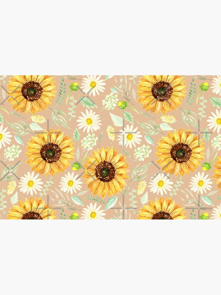 Sunflowers and Daisies   Watercolor   Art   Pattern   Beige by Harpleydesign