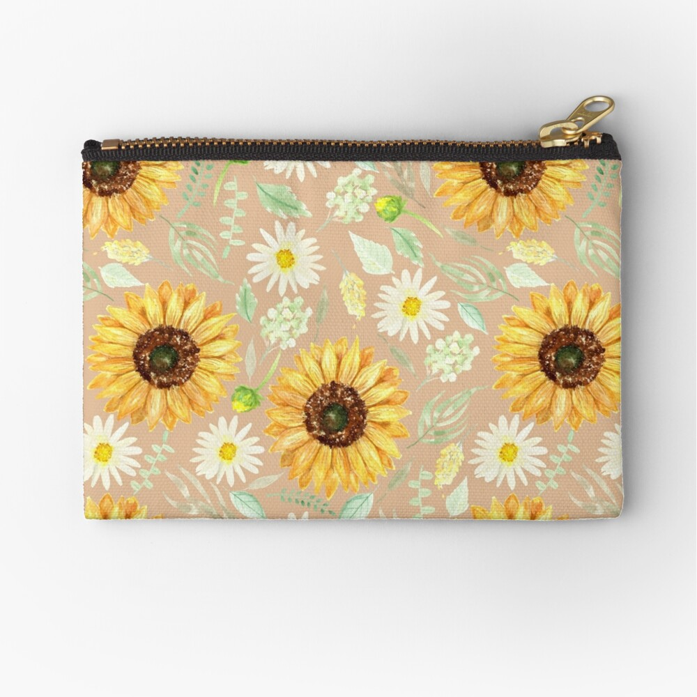 Sunflowers and Daisies   Watercolor   Art   Pattern   Beige Zipper Pouch