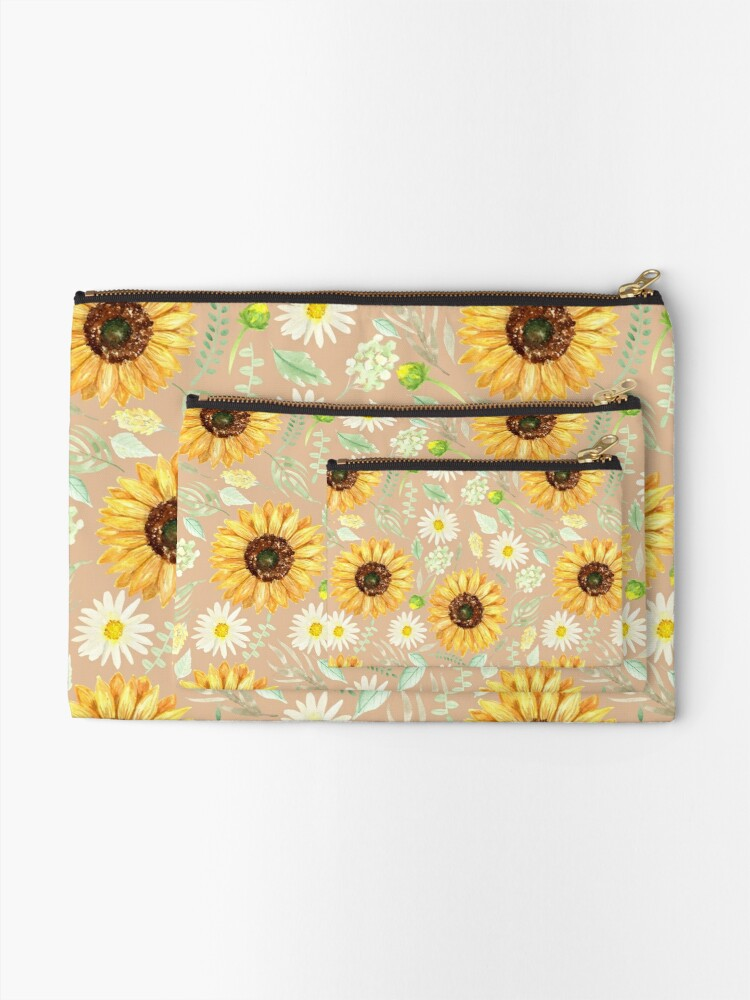 Alternate view of Sunflowers and Daisies   Watercolor   Art   Pattern   Beige Zipper Pouch