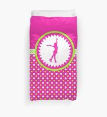 Figure Skating - Pink and Green Polka-Dots Duvet Cover