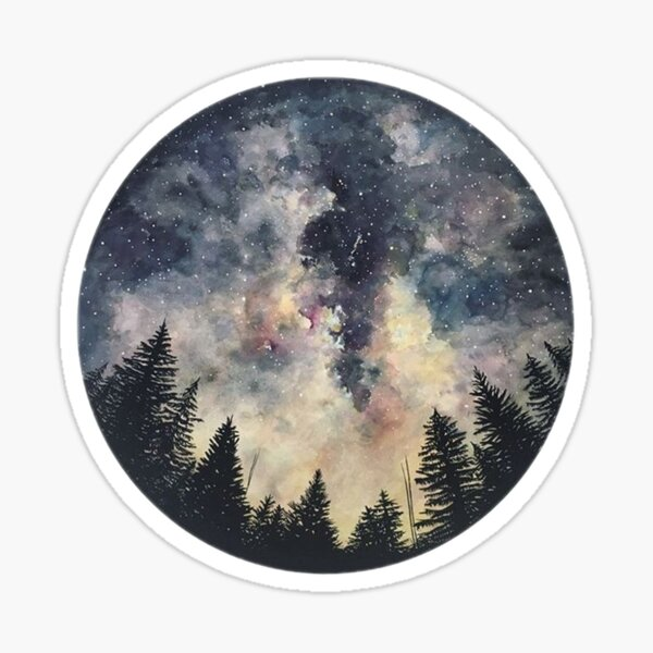 Watercolor Forest Galaxy / Circle / Night Sky / Galaxy / Stars / Sticker Sticker