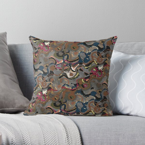 Abstract Watercolor in Gray, Bown, Blue, Red Throw Pillow