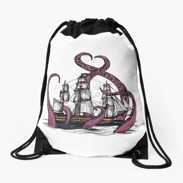 Kraken Attacking A Ship Drawstring Bag