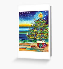 Christmas tree With Stars and Beach Greeting Card