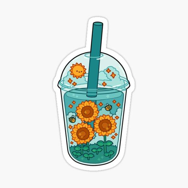 Sunflower Boba Sticker