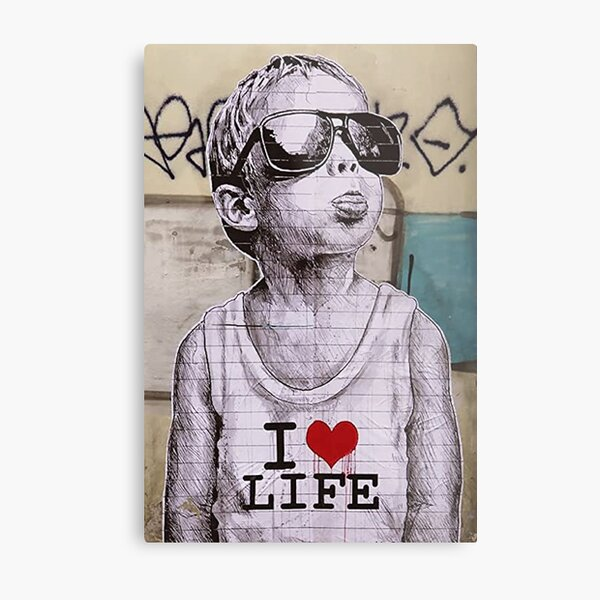 I love life boy graffiti street art  Metal Print