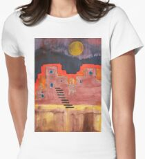 Pueblito original painting Women's Fitted T-Shirt