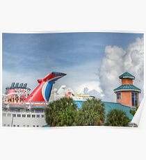 Cruise Ship at the Prince George Wharf Port in Downton Nassau, The Bahamas Poster