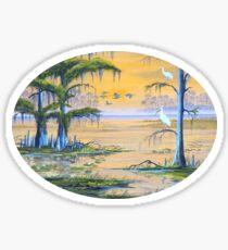 Ibis At The Everglades - Misty Sunrise Sticker