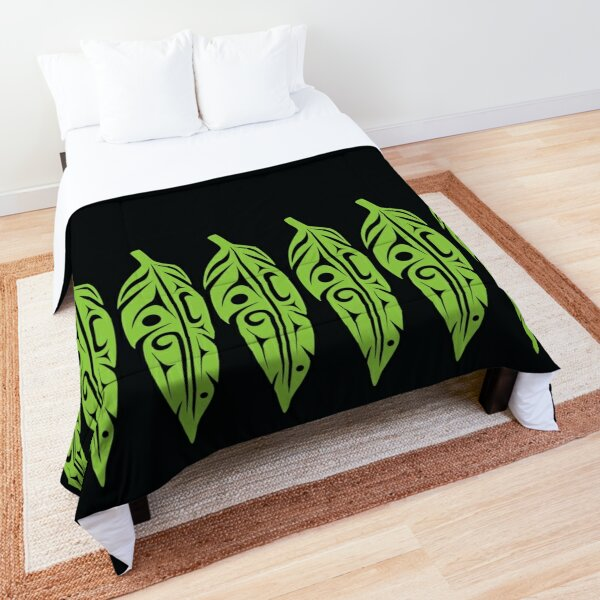 Feathers - Lime Green on Black Comforter