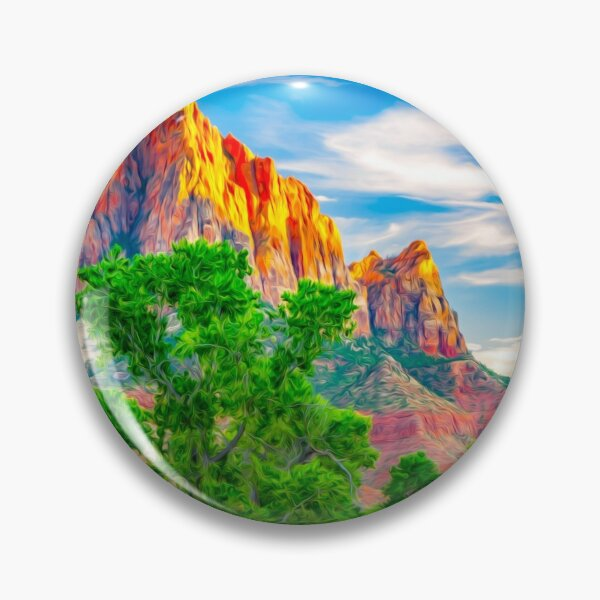 Zion National Park Utah Watchman Tower Gifts Pin