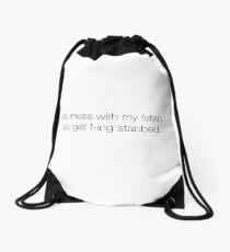 mess with my fstab Drawstring Bag