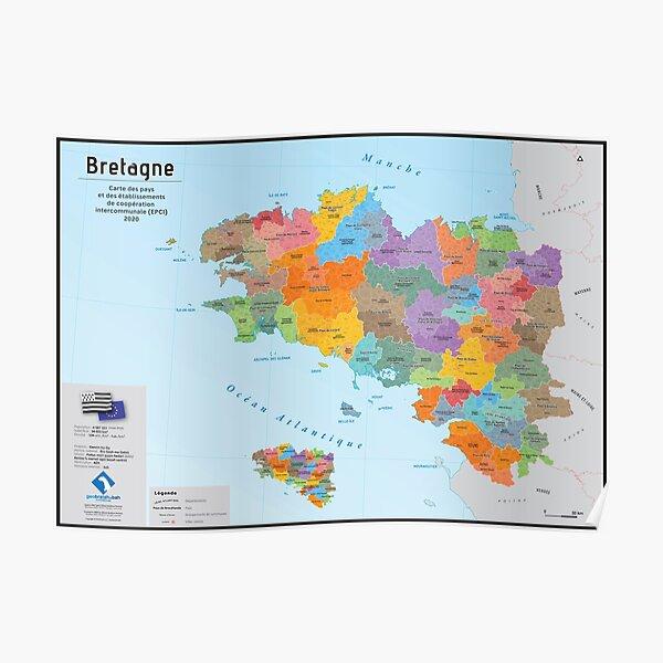 Bretagne, carte administrative 2020 des pays et des communautés de communes (en français) Poster