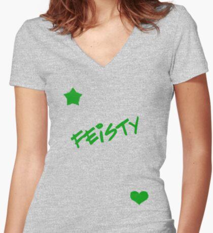 Feisty! Women's Fitted V-Neck T-Shirt