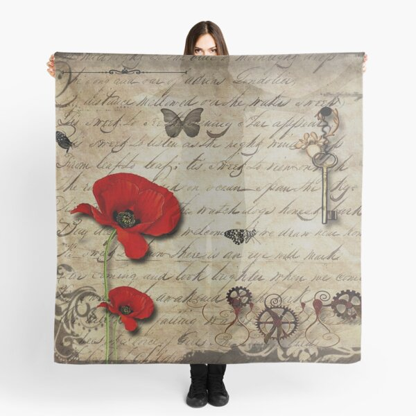 Vintage Steampunk Poppy Art -Beauty comes in different forms, and with this beautiful vintage poppy print, home decor and art, make great for gifts for yourself or as a gift for loved ones. Scarf