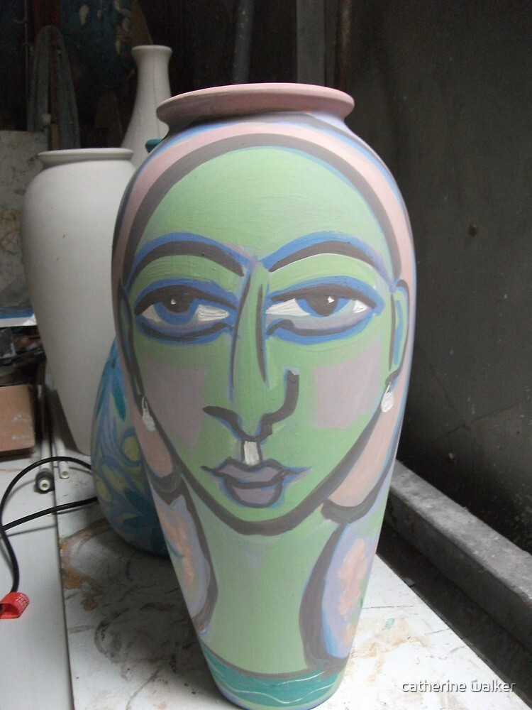 Unfired new painted pot by catherine walker