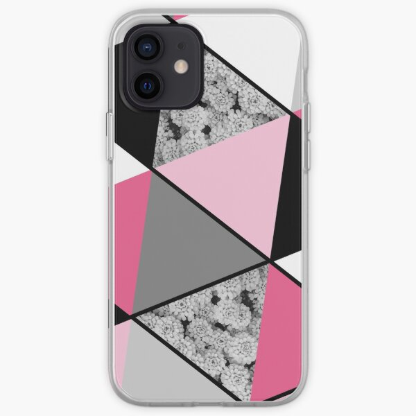 Triangles Black White Pink Grey and Flowers iPhone Soft Case