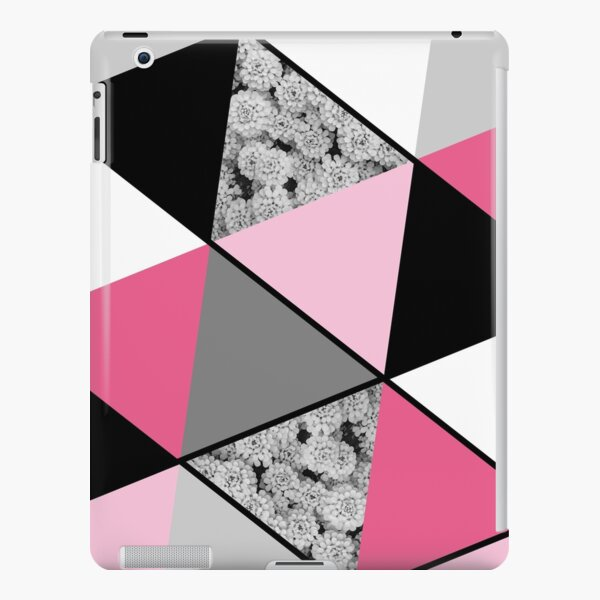 Triangles Black White Pink Grey and Flowers iPad Snap Case