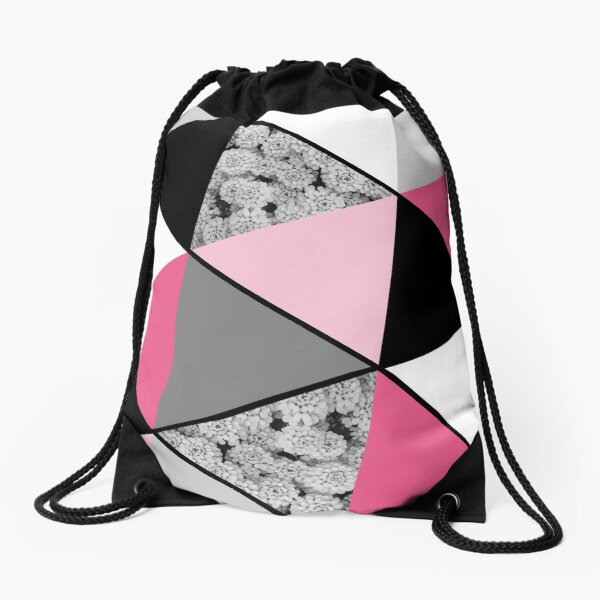 Triangles Black White Pink Grey and Flowers Drawstring Bag