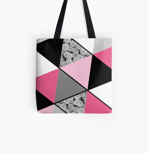 Triangles Black White Pink Grey and Flowers All Over Print Tote Bag