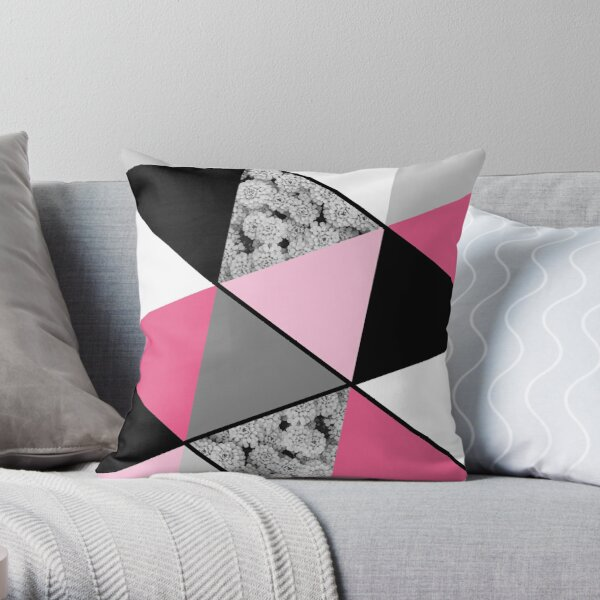 Triangles Black White Pink Grey and Flowers Throw Pillow