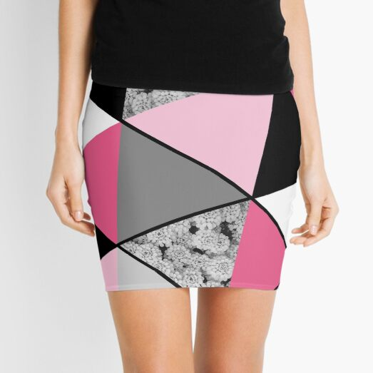 Triangles Black White Pink Grey and Flowers Mini Skirt