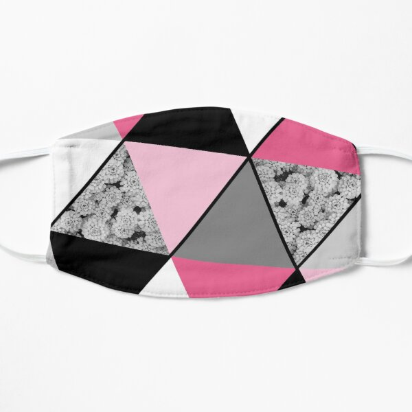 Triangles Black White Pink Grey and Flowers Flat Mask