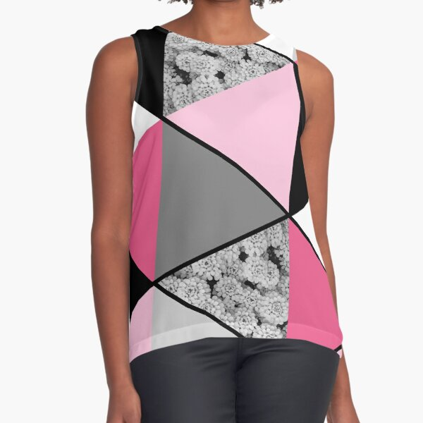 Triangles Black White Pink Grey and Flowers Sleeveless Top