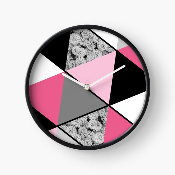 Triangles Black White Pink Grey and Flowers Clock
