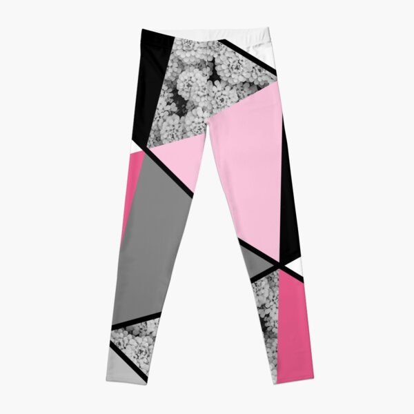 Triangles Black White Pink Grey and Flowers Leggings