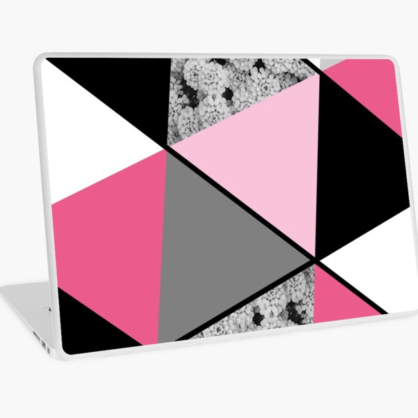 Triangles Black White Pink Grey and Flowers Laptop Skin